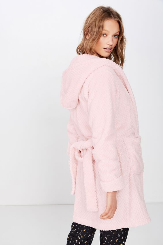 Hooded Luxe Plush Gown, CRYSTAL PINK MARLE TEXTURED
