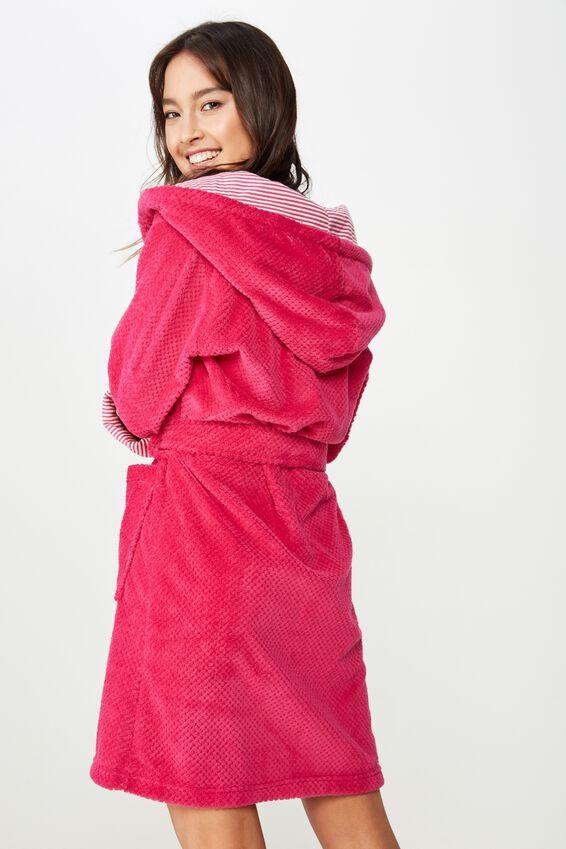 Luxe Plush Gown, RASPBERRY CRUSH MINI TEXTURED
