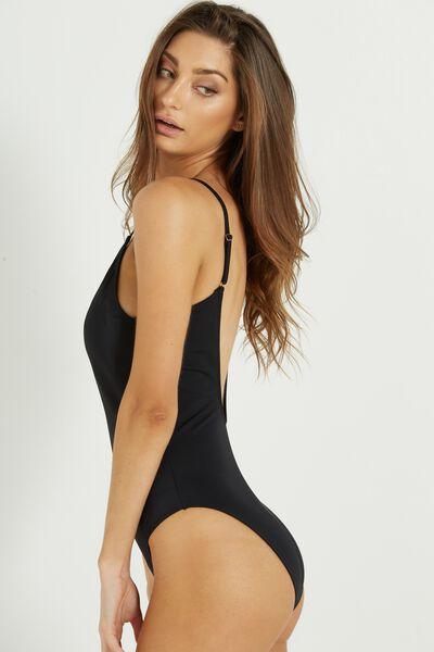 Phoenix Thin Strap One Piece Bikini, BLACK