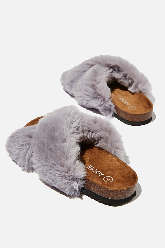 Cosy Crossover Slipper, GREY