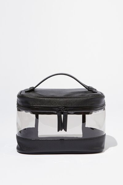 Large Structured Cosmetic Case, BLACK