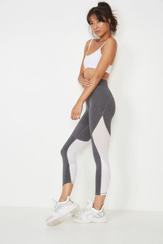 Movement Mesh Panelled 7/8 Tight, CONCRETE MARLE / WHITE