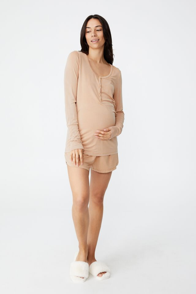 Sleep Recovery Maternity Henley Top, BUTTERSCOTCH WASH