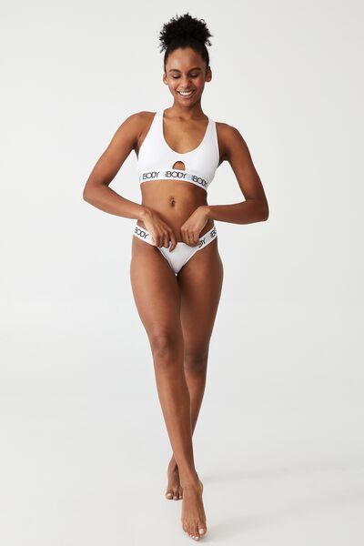 Body Organic Cotton Tanga Bikini Brief, WHITE