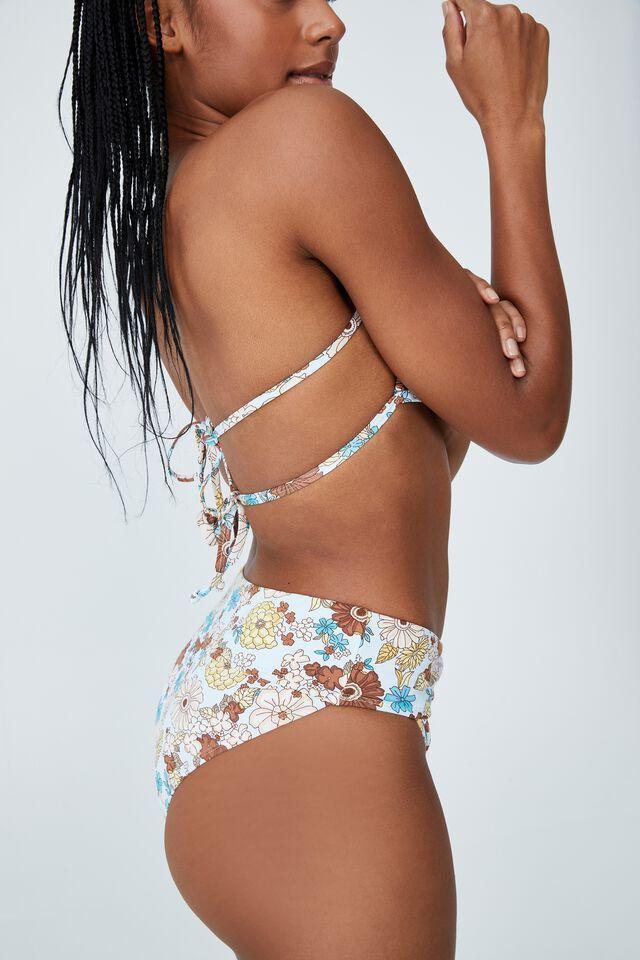 Highwaisted Cheeky Bikini Bottom, RESORT FLORAL BLUES/CROSS