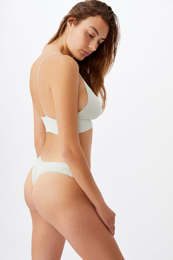 Cotton G String Brief, SILHOUETTE DAISY MINT CHIP
