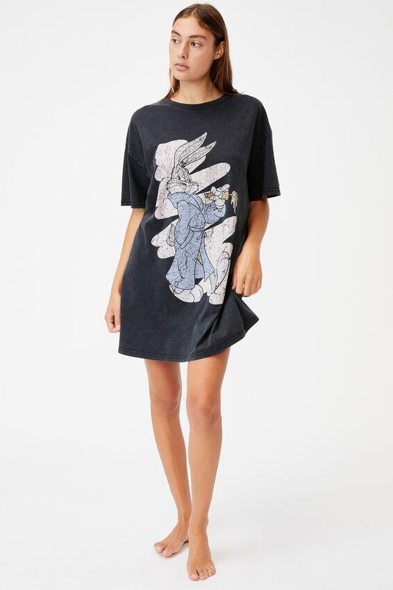 Organic Cotton 90S T-Shirt Nightie, LCN WB BUGS BUNNY/WSH BLACK