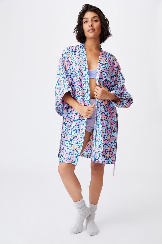 Satin Robe, SIMPLE RETRO FLORAL PRIMROSE