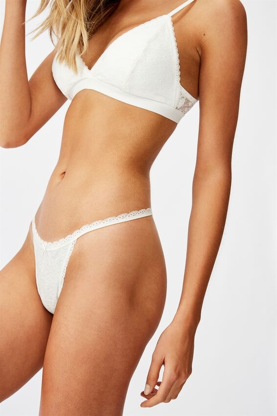 Charlotte Lace Trim G-String Brief, WHITE MARLE/CREAM