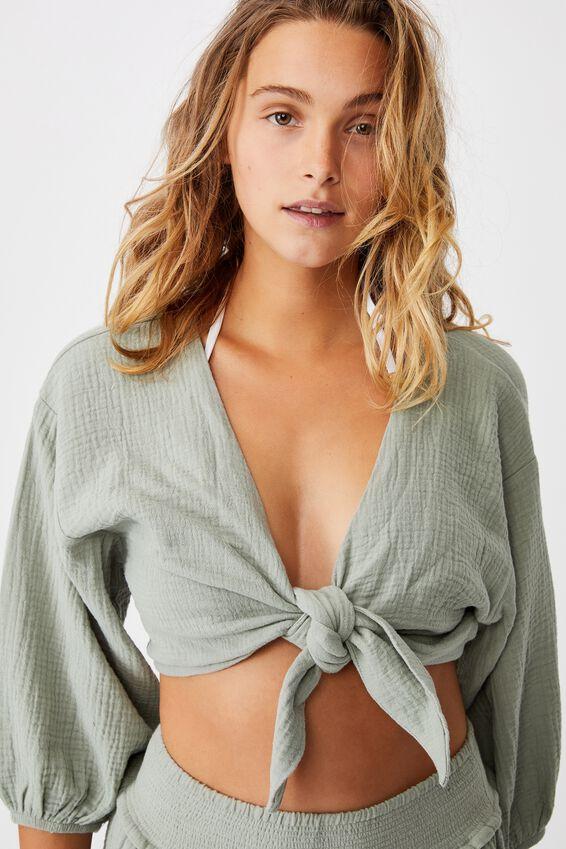 Knot Front Cropped Beach Shirt, KHAKI