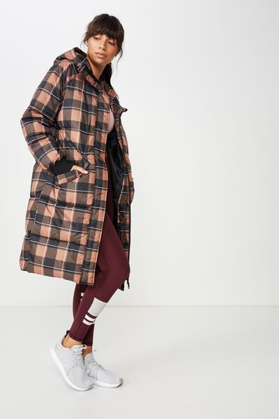 Longline Active Puffer Jacket, CHEQUER