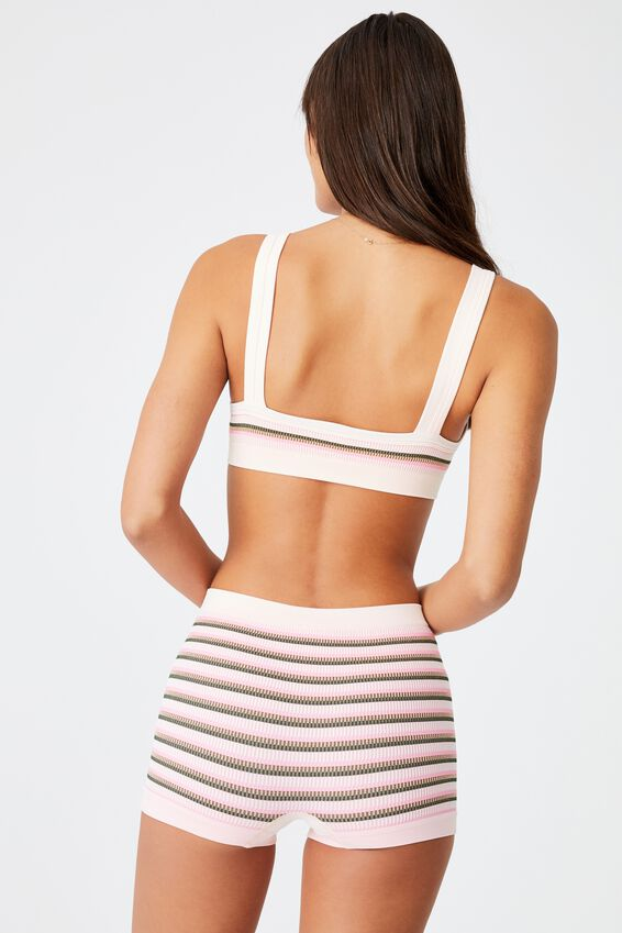 Seamless Chunky Straight Neck Crop, VINTAGE STRIPE