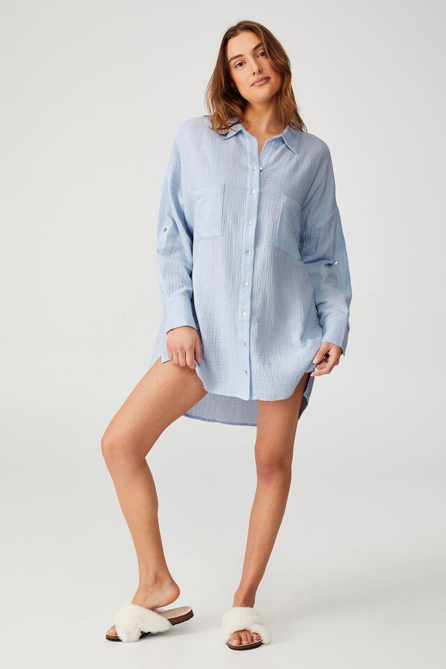 Pre Party Oversized Shirt Nightie, SUMMER BREEZE