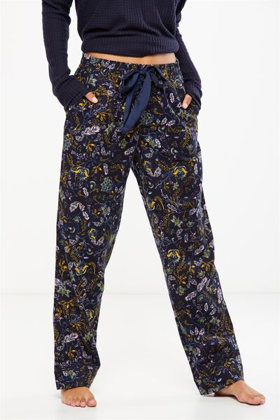 Non Cuffed Flannel Pant, ORNATE HARVEST MIDNIGHT