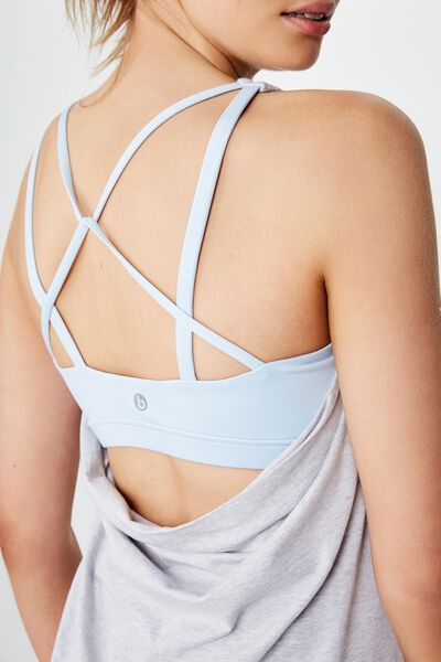 Strappy 2 In 1 Tank Top, GREY MARLE/BABY BLUE
