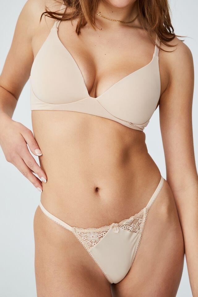 Ultimate Comfort Lace Tanga G String Brief, FRAPPE