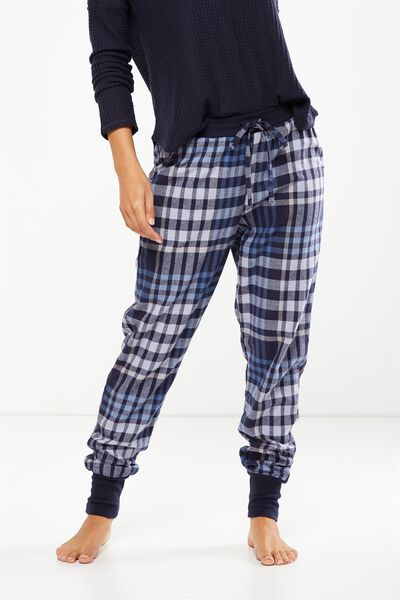 Cuffed Flannel Pant, NAVY BABY CHECK