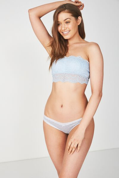 Cotton Rich Bikini Brief, LIGHT GREY MARLE/COASTAL BLUE
