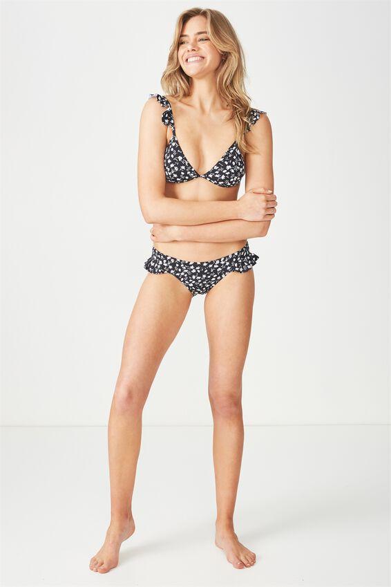 Freya Frill Cheeky Bikini Bottom, BLACK DITSY FLORAL