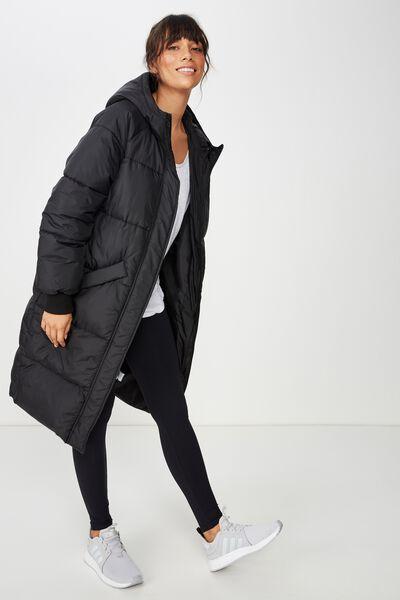 Longline Active Puffer Jacket, BLACK
