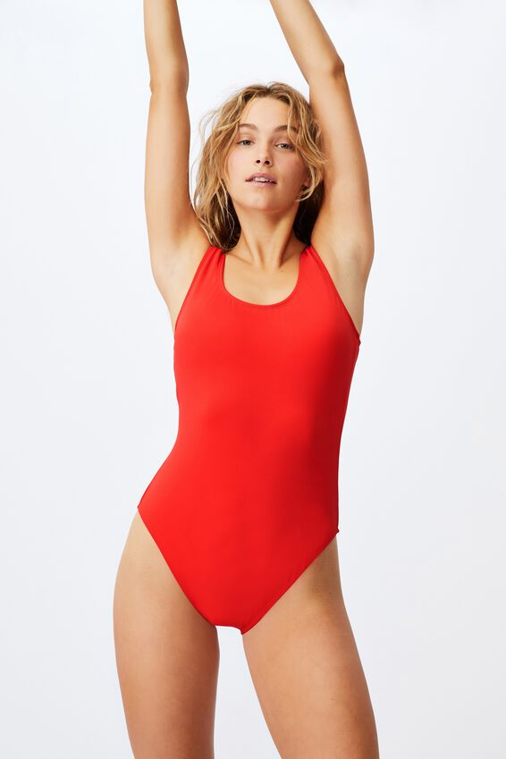 Wide Strap One Piece Cheeky, RED