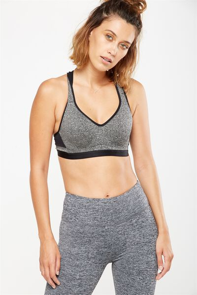 Workout K.I.R Sports Bra, SALT & PEPPER