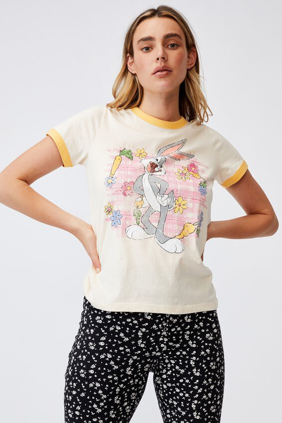 Ringer Sleep T-Shirt, LCN WB BUGS BUNNY FLOWERS