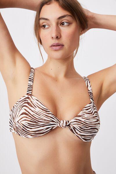 Scrunchy Strap Knot Front Bikini Top, MOTLED ZEBRA
