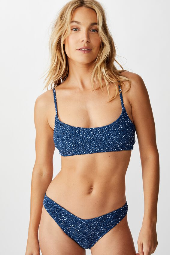Scoop Crop Bralette Bikini Top, MARINA BLUE IRREGULAR SPOT SHIRRED