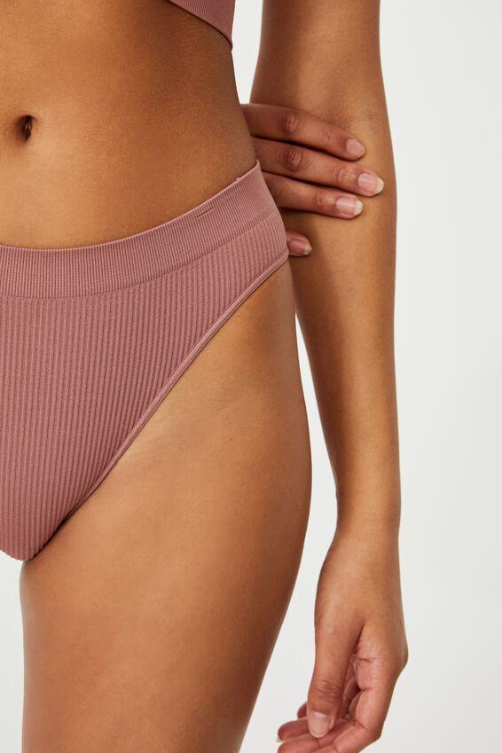 Seamless High Cut Cheeky Bikini Brief, DUSTY ROSE