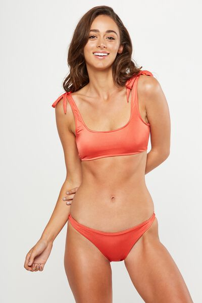 Tie Up Bralette Bikini Top, VERMILLION