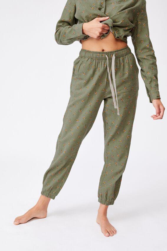 Flannel Sleep Pant, SPRIGGY FLORAL COOL AVOCADO