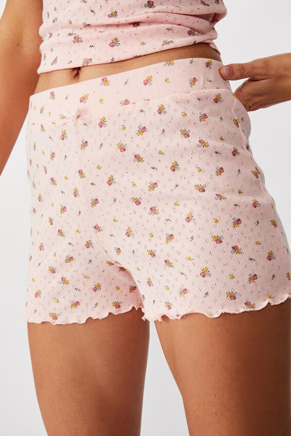 Pointelle Sleep Short, VINTAGE BUNCH DITSY SOFT CAMEO PINK