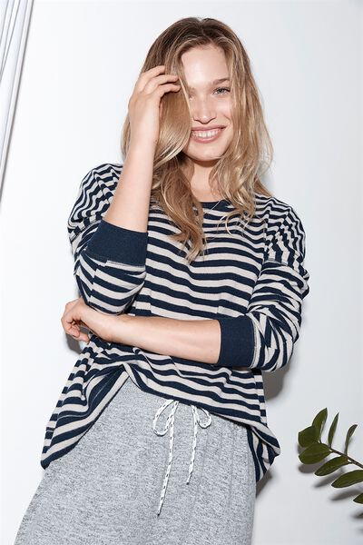 Super Soft  Lounge Top, NAVY BABY/BAKED STONE STRIPE