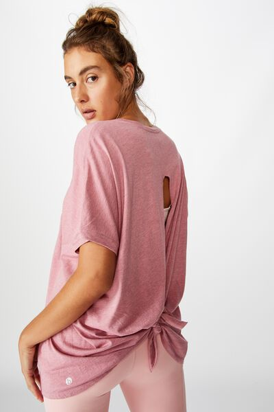 Longline Tie Back T Shirt, WASHED ROSE MARLE