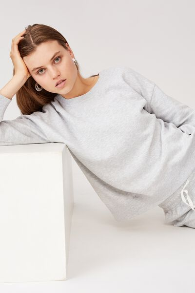 Long Sleeve Fleece Crew Top, WINTER GREY MARLE