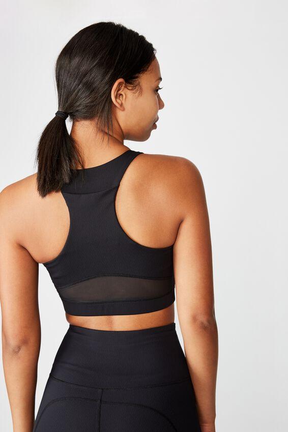 Workout Rib Mesh Crop, BLACK
