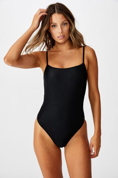 Straight Neck One Piece Cheeky, BLACK RIB