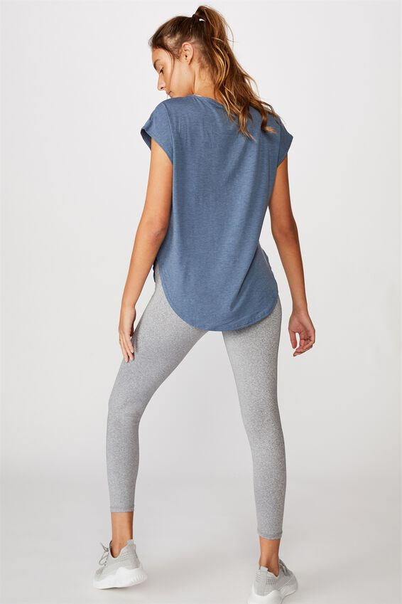 Active Scoop Hem Tee, STEEL BLUE MARLE