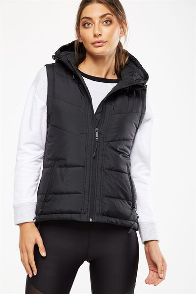 Hooded Puffer Vest, BLACK
