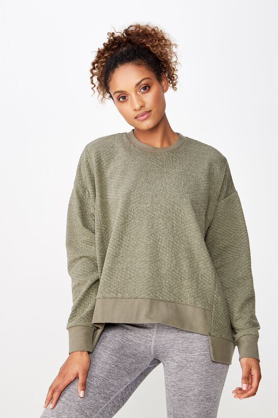 Step Up Hem Textured Longsleeve, KHAKI