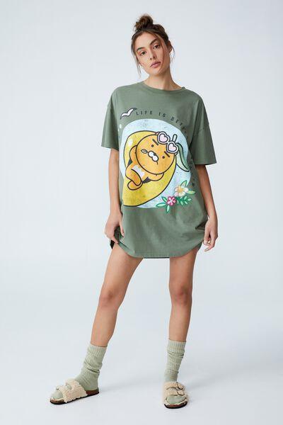 Organic Cotton 90S T-Shirt Nightie, LCN KAKAO RYAN IN SUMMER GARDEN SAGE WASH