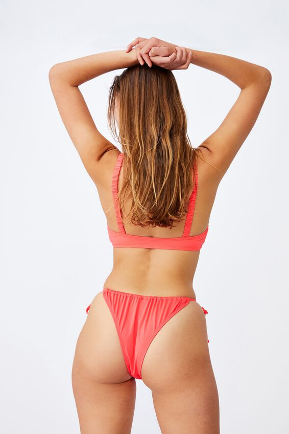 Gathered Tie Brazilian Bikini Bottom, HOT CORAL