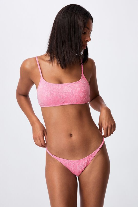 Thin Strap High Side Cheeky Bikini Bottom Jacquard, PRIMROSE PETALS JACQUARD