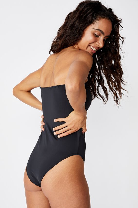 Strapless One Piece Cheeky, BLACK