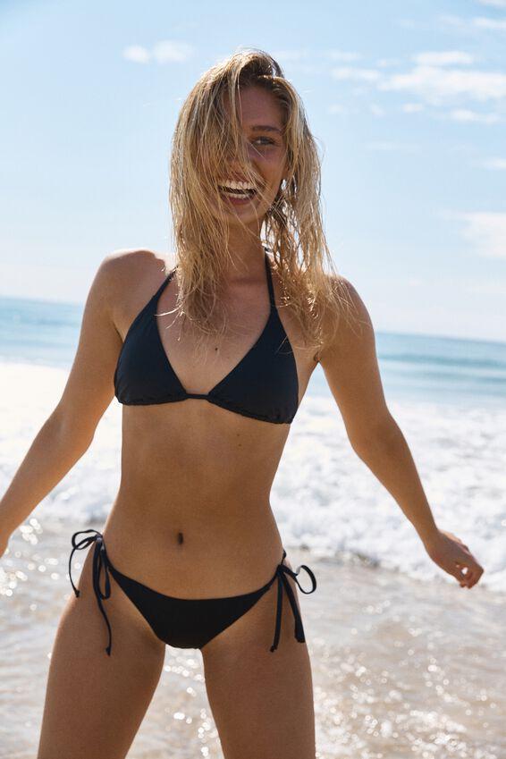 Classic Slider Triangle Bikini Top, BLACK