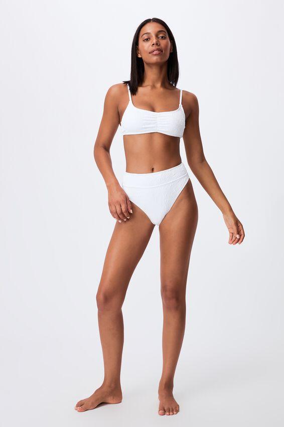 Highwaisted Cheeky Bikini Bottom Jacquard, WHITE PETALS JACQUARD