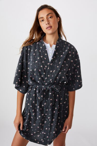 Kimono Waffle Gown, DITZY GARDEN/WASHED BLACK