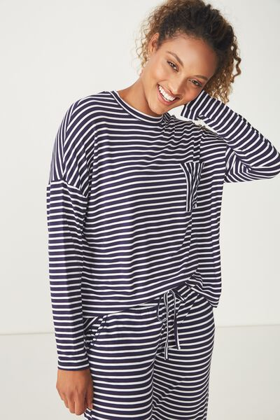Sleep Recovery Boxy Long Sleeve Top, NAVY/WHITE STRIPE