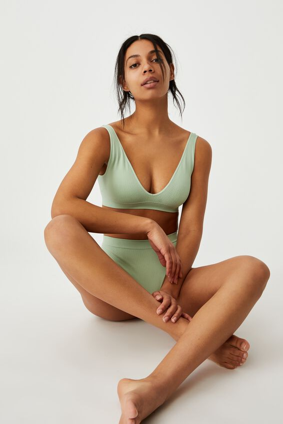 Seamfree Plunge Bralette, MINT CHIP